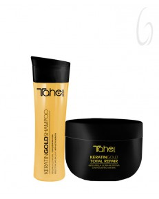 Kit Tahe Botanic Keratin Gold Shampoo 300ml + Keratin Gold Total Repair Mask 300ml